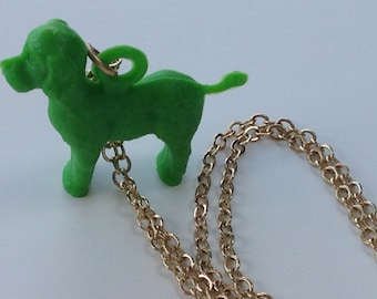 """Green Poodle on an 18"""" Gold Plated Chain"""
