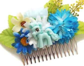 Blue Pony Floral Hair Comb-Brony Kitsch-Furry Fashion-MLP Fandom-Teen Girl Gifts-Doll Style-Flower Crown-Festival Fashion-Kawaii Cute-Sweet