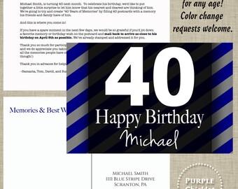 Milestone Birthday Postcard Memories and Best Wishes Printable Birthday Postcard Set Navy Blue Gray Stripes Standard 4x6 jpeg files 6