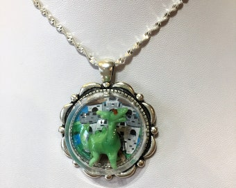 Glass Two headed dragon and castle on silver pendant with silver chain necklace fire breathing dragon