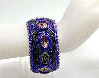 Black & Purple Bracelet with Crystal Accents, Beaded Cuff Bracelet, Crystal Cuff Bracelet, Bead Embroidered Bracelet, Vintage Crystal
