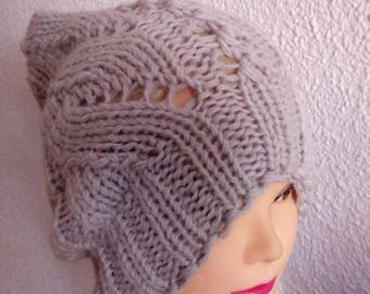 Hand knit hat Oversized Chunky Wool  Hat   gray, hat slouchy hat   light gray, cable hat Superwash Wool