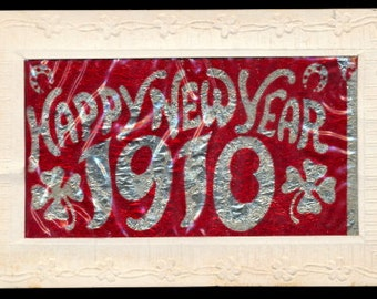 1910 New Years Day Postcard with Celluloid Overlay