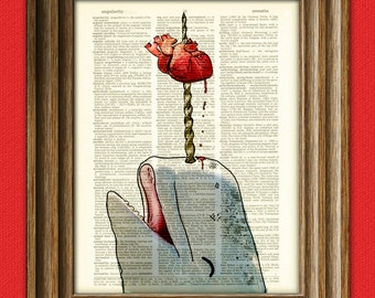 Narwhal Whale with heart - Love Straight Through the Heart original art dictionary page book art print Narwhale