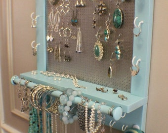 ON SALE Beautiful Turquoise Wall Mounted Jewelry Organizer with a Bracelet Bar, Wall Organizer, Jewelry Display, Necklace Holder, Earring Or