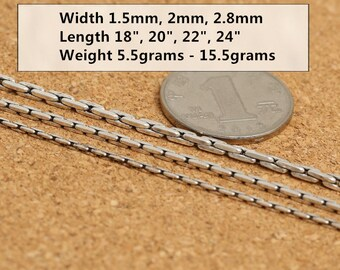 """Sterling Silver Rice Grain Bali Chain, Sterling Grain Bali Chain, 925 Silver Bali Chain Necklace 1.5mm 2mm 2.8mm 18"""" 20"""" 22"""" Inches - LA402"""