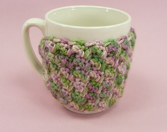 CUP MUG COZY Crochet Rose Pink Ivy Green Coffee Tea Hot Cocoa Chocolate Cover Sleeve Insulate Gift for Teacher Friend