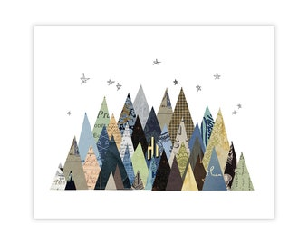 Montagne Art Print - montagne Collage Illustration Art Print - Woodland Print