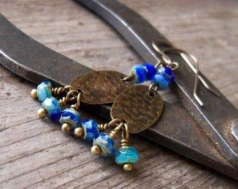Hypoallergenic Earrings - Pure Titanium Earrings - Dangle Earrings - Bead Earrings - Cobalt Blue Earrings - Boho Earrings - Boho Jewelry