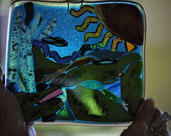 """Fused and Mosaic Glass Art """"The Sea"""""""