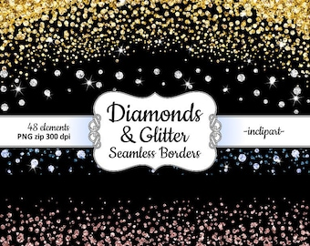Diamond Clipart. Seamless border diamond & glitter clipart. Gold Rose Blue Silver overlay clipart. Instant digital download. PNG format.