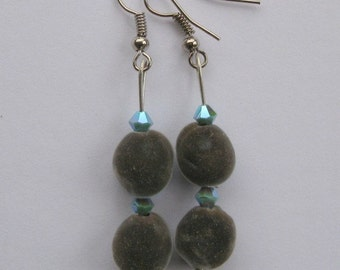 Hawaiian mgambo seed earrings with turquoise 2AB Swarovski crystal bicones