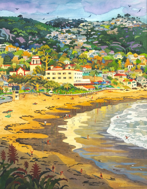 Last Light on Laguna, Laguna Beach, Main Beach, Hotel Laguna, Painting of Laguna Beach, Laguna Beach Coastline