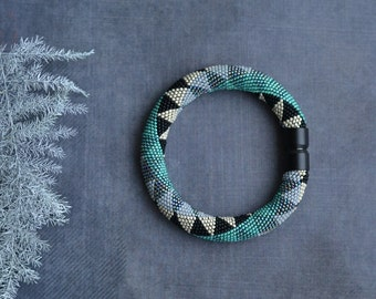 Chic Bead Crochet Rope Bracelet Black and Teal Bracelet Crochet with beads jewelry Geometric pattern Comtemporary Bangle