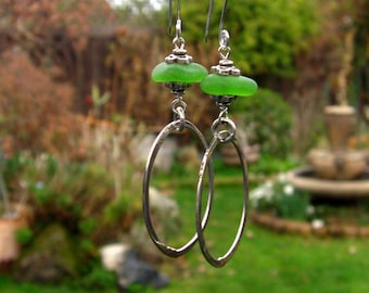 Lime Green Sea Glass Hoop Earrings (C562)
