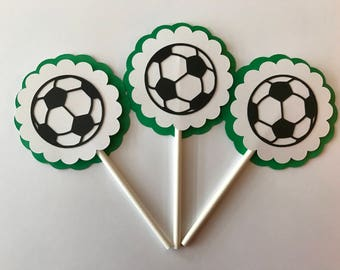Soccer Cupcake Toppers - Soccer Birthday Party Decor - Soccer Party Decor - Soccer Cupcakes - Soccer Baby Shower Decor - Soccer Toppers