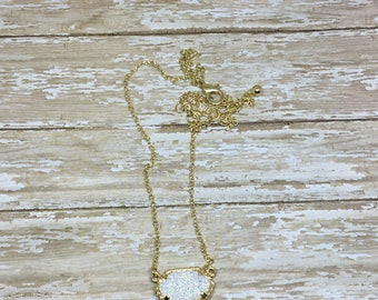 White Iridescent Druzy Necklace | White and Gold necklace | Elegant Pendent Necklace