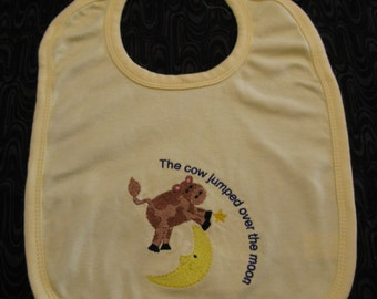 Embroidered Baby Bib Boy or Girl Yellow Cow Jumped Over The Moon Design
