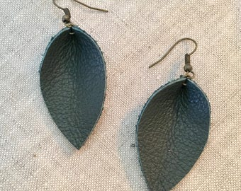 Recycled Leather Leaf Earrings -Forest Green