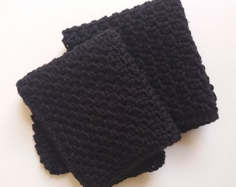 Set of 2 Large Cotton Crochet Cloths for Bodies or Dishes! Black