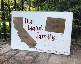 Personalized Family Name Wood Hand painted Sign, Different States Wedding date, Established Date,, Rustic Distressed Wood, Anniversary gift