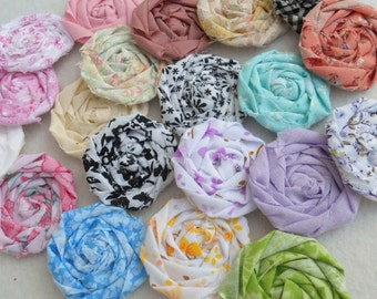 """Fabric Flowers Roses Rolled Hairclip Bride Wedding Shower Birthday Bobby Pin Photo Prop French Rosette 1"""" Scrapbook Handmade Wholesale 20"""