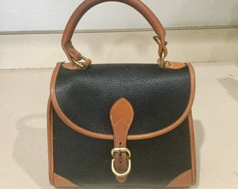 Dooney and Bourke Black Satchel All Weather Leather with British Tan
