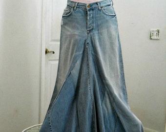 Seven for All Mankind  ballroom jean skirt Renaissance Denim Couture fairy goddess mermaid belle bohémienne Made to Order