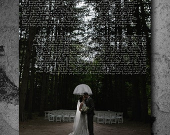 custom poster, christmas gifts for husband, favorite song or wedding vows scripted onto a poster