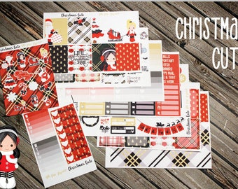 Christmas Cute Weekly Planner Stickers - Full Kit Planner - for use with Erin Condren - Happy Planner - Red Green Gold