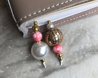 BEADED BOOKMARK for Travelers Notebooks | Planners | Journals | Books PEARL with pink and gold accents