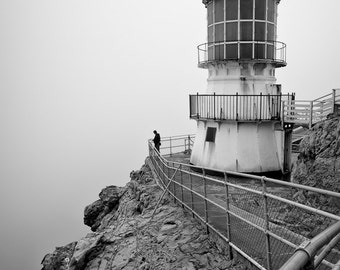 Point Reyes Lighthouse, Black and White, 8x12 Fine Art Photograph (G8097BW), Lighthouse Photograph, Landscape photography