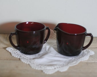 vintage ruby red creamer and sugar