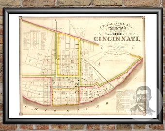 Cincinnati, Ohio Art Print From 1841 - Digitally Restored Old Cincinnati, OH Map Poster - Perfect For Fans Of Ohio History