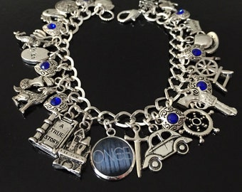 Welcome to Storybrooke, Once Upon A Time Charm Bracelet, OUAT Jewelry, Emma Swan, Captain Swan, Snow White, Storybrooke, hook
