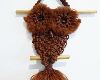 Brown macrame mini owl