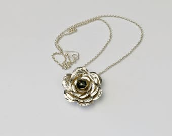 Silver Rose and Black Pearl Necklace