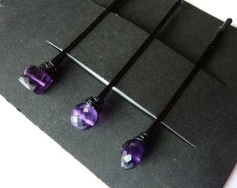 Amethyst Gemstone Trio Bobby Pin Pack - Three Shapes - Round, Rondelle, Cube