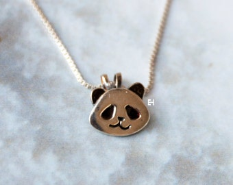Handmade Sterling Silver Panda Face Necklace