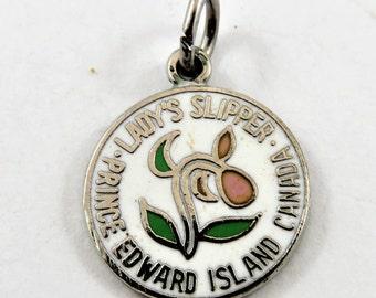 Enameled Lady's Slipper Prince Edward Island Canada Sterling Silver Charm or Pendant.