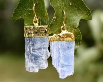 Blue Kyanite Earrings - Natural Kyanite - Rough Gemstone Earrings - Gold Capped Raw Kyanite - Kyanite Blade Earrings - Blue Stone Earrings