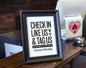 Check In, Like Us & Tag Us on Facebook and Instagram with Custom Text - Social Media Call To Action, Facebook, Printable Download, Marketing