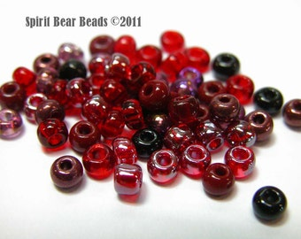 Red Rum Raisin Red and black 6/0 seed bead mix  50 grams