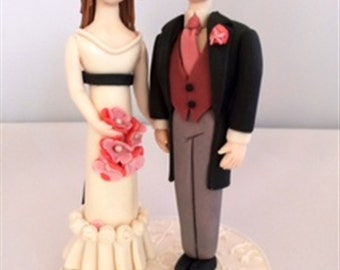 Bride and Groom Fondant Wedding Cake Topper