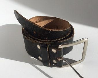 Vintage distressed brown genuine leather belt