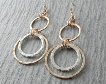 Gold Dangle Earrings Silver And Gold Earrings Circle Earrings Mixed Metal Earrings Dangle Circle Earrings Gift For Her