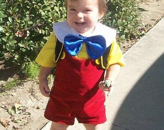 Pinocchio Costume  Lederhosen Child Sizes 12 months to 4 years Old October Fest tyrolean Alpine Hat