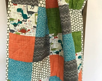 Baby quilt- Dino - dinosaur - orange- teal-gray - crib quilt- ready to ship - minky