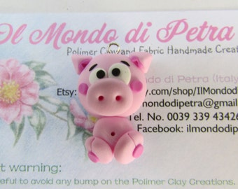 Little Pig Charm in Polymer Clay - Animals Handamade