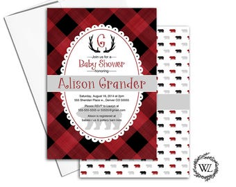bear baby shower invitation boys, buffalo plaid baby shower invite woodland rustic antlers, red and black, printable or printed - WLP00753